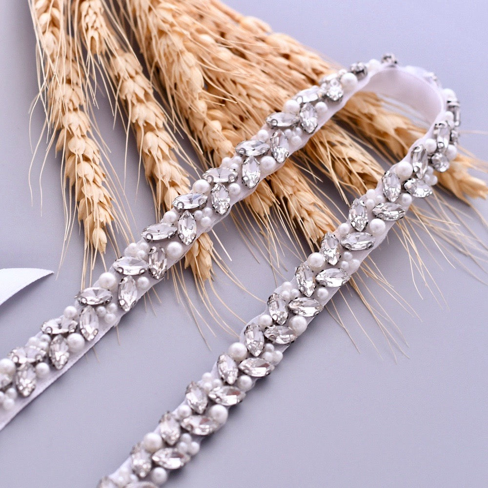 Wedding Accessories - Silver Pearl and Crystal Bridal Belt/Sash