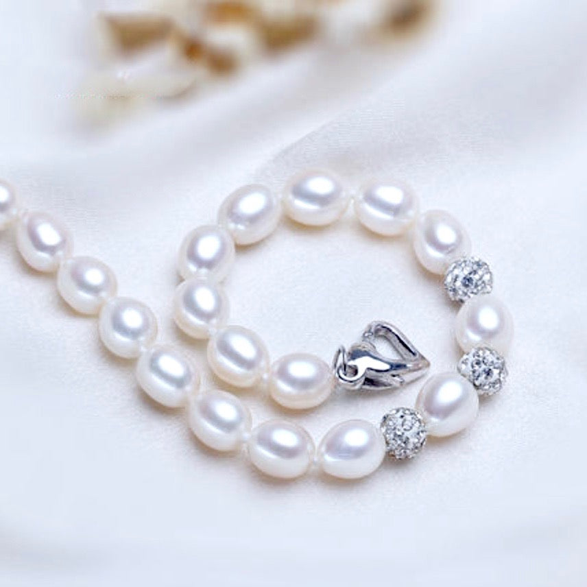 Wedding Pearl Jewelry - Freshwater Pearl and Gold Flower Girl Bracelet