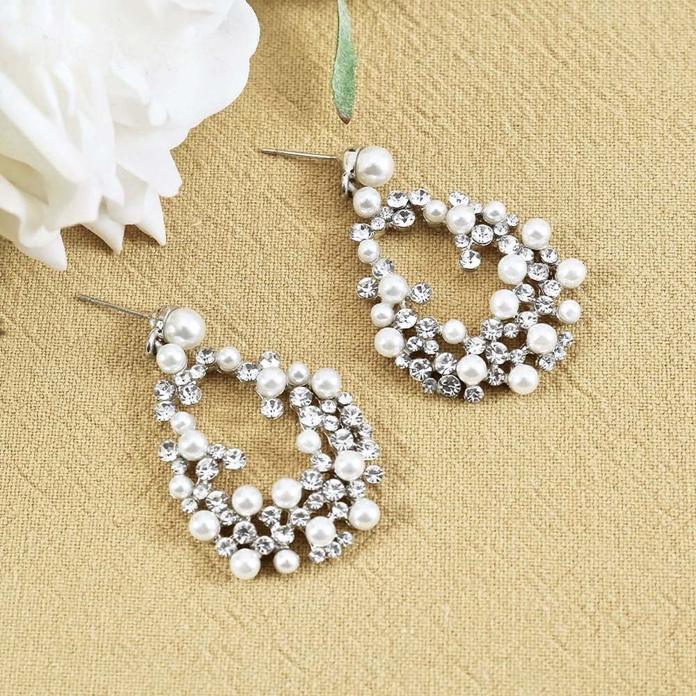 Wedding Jewelry - Pearl and Rhinestone Bridal Earrings