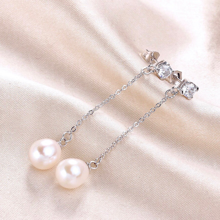 Wedding Pearl Jewelry - Freshwater Pearl Sterling Silver Bridal Earrings