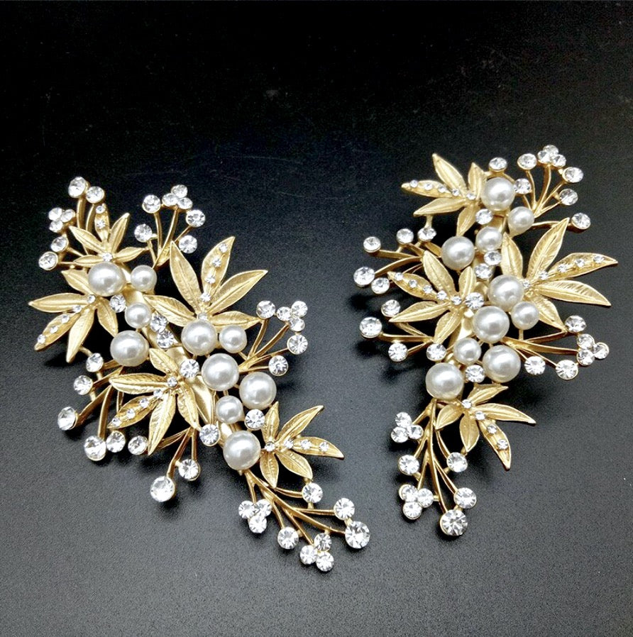 Wedding Hair Accessories - Gold Pearl and Crystal Bridal Hair Clip