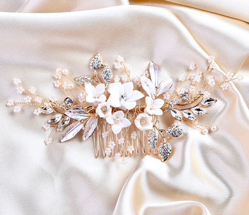 Wedding Hair Accessories - Silver Pearl and Crystal Bridal Hair Comb - Available in Silver, Rose Gold and Yellow Gold