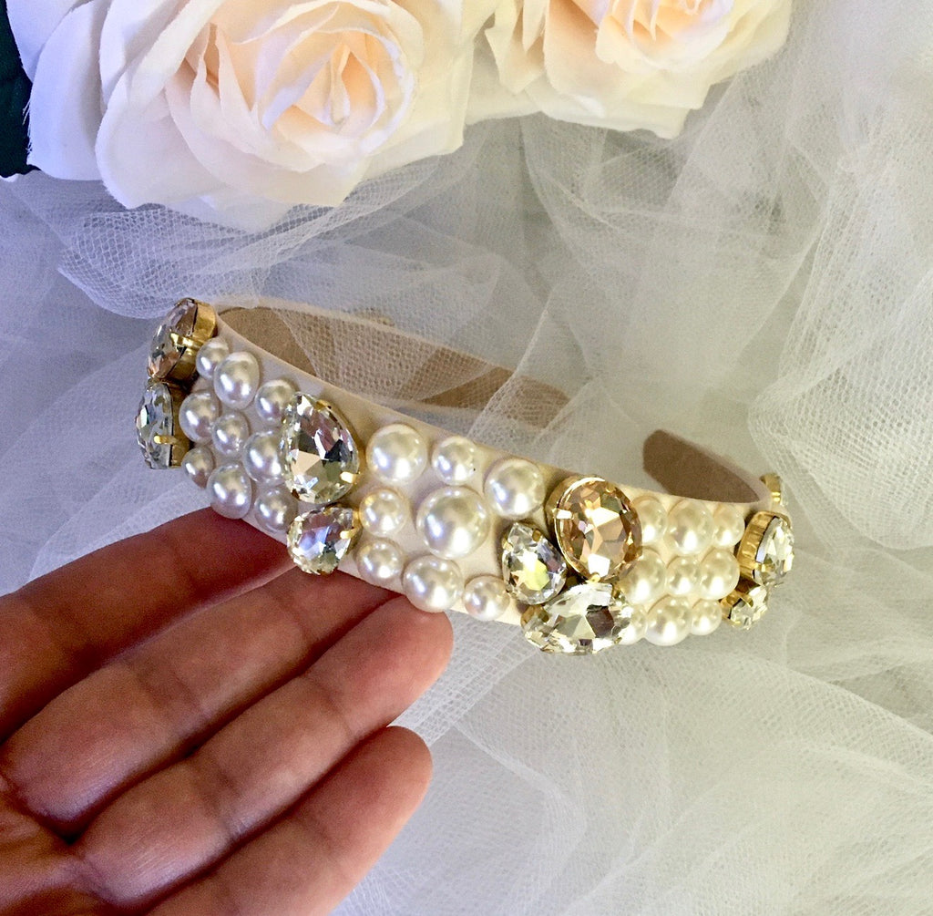 Wedding Hair Accessories - Pearl and Rhinestone Embellished Bridal Headband - Available in Gold and Silver