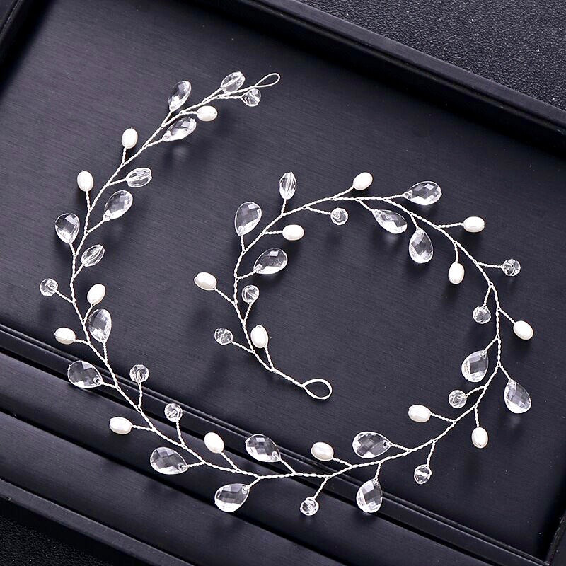 """Shana"" - Pearl and Crystal Bridal Headband / Vine - Available in Silver and Yellow Gold"