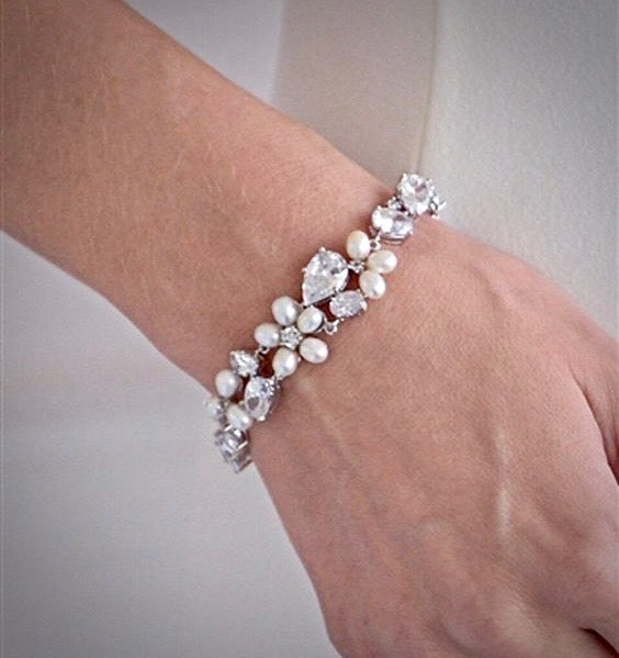 Pearl Wedding Jewelry - Freshwater Pearl and Cubic Zirconia Bridal Bracelet