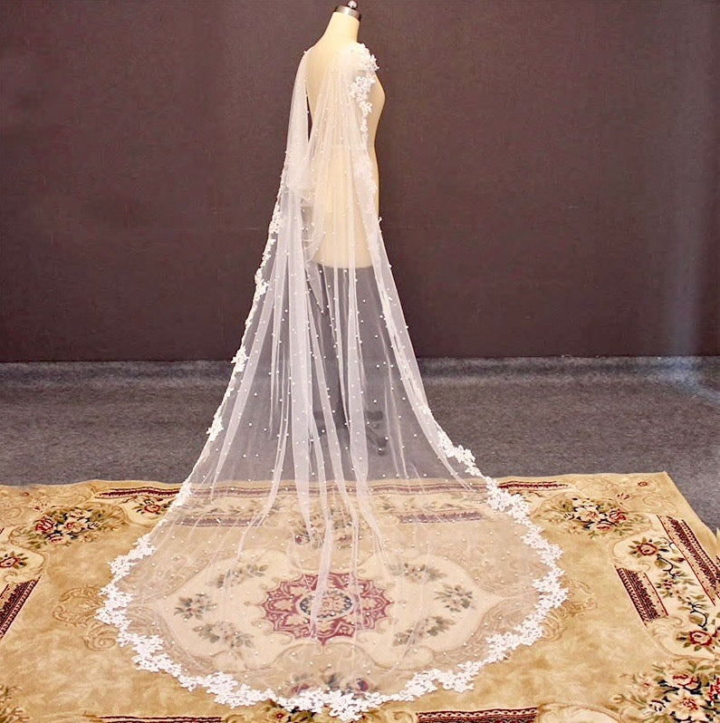 Wedding Veils - Bridal Pearl Cape Veil - Cathedral Length