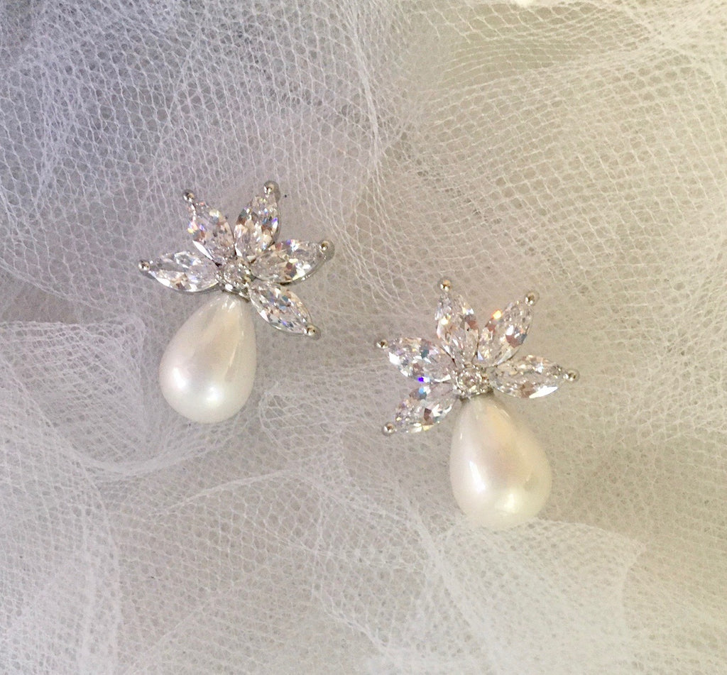 Wedding Jewelry - Pearl and Cubic Zirconia Bridal Earrings - Available in Silver and Rose Gold