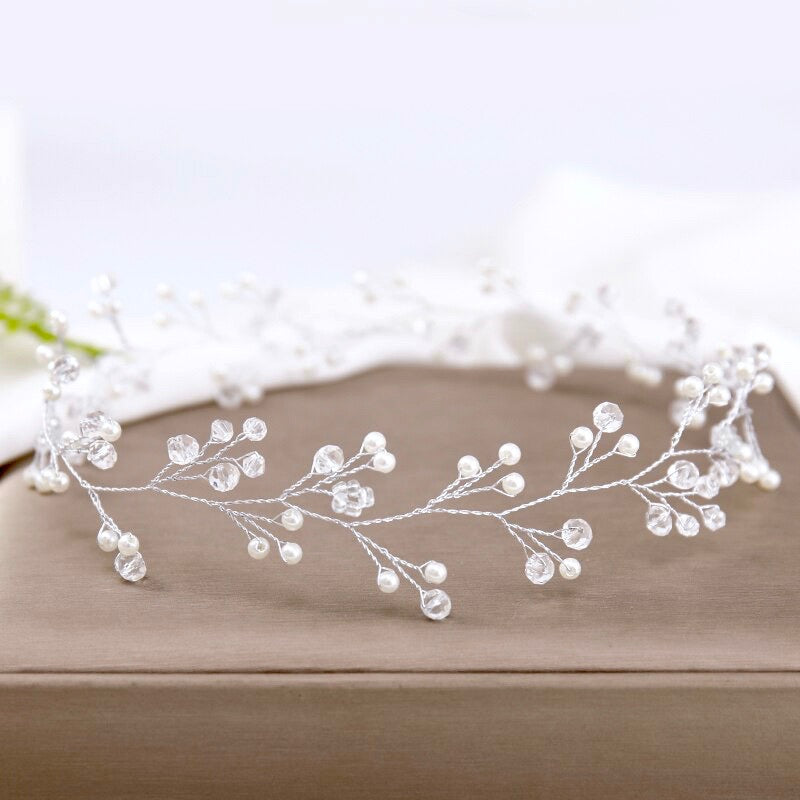 """Avery"" - Silver Pearl and Crystal Bridal Headband / Hair Vine"