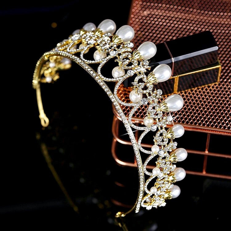 """Myla"" - Pearl and Crystal Bridal Tiara - Available in Yellow Gold and Silver"