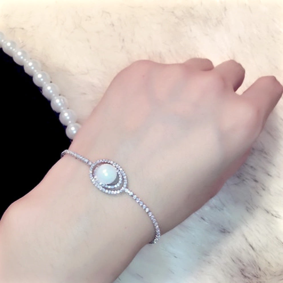 Pearl Wedding Jewelry - Pearl and Cubic Zirconia Bridal Bracelet