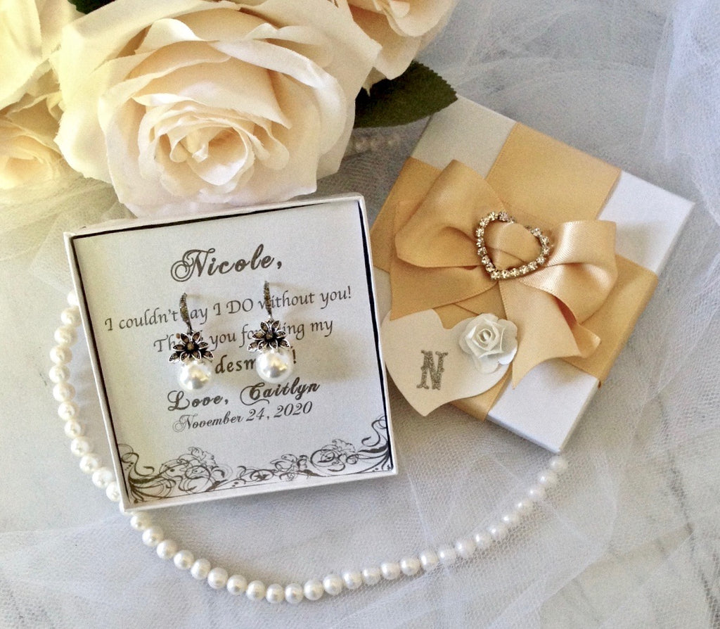 Bridal Party Gifts - Pearl Bridesmaids Earrings - More Colors Available
