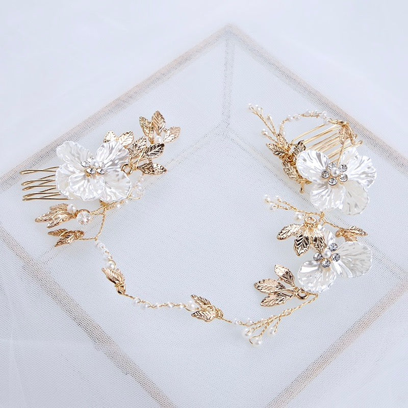 Wedding Hair Accessories - Gold Pearl and Crystal Bridal Headband