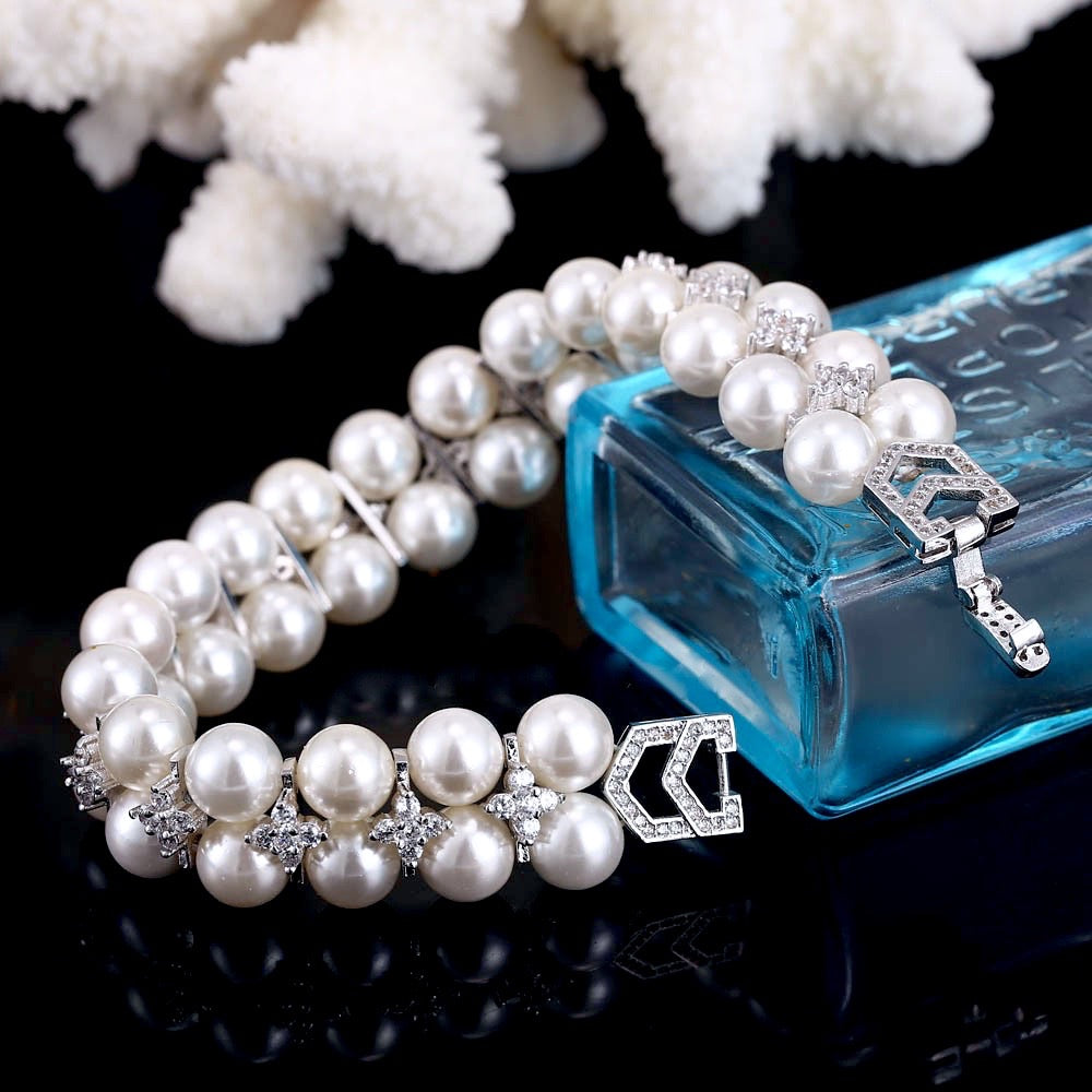 Pearl and Cubic Zirconia Bridal Bracelet