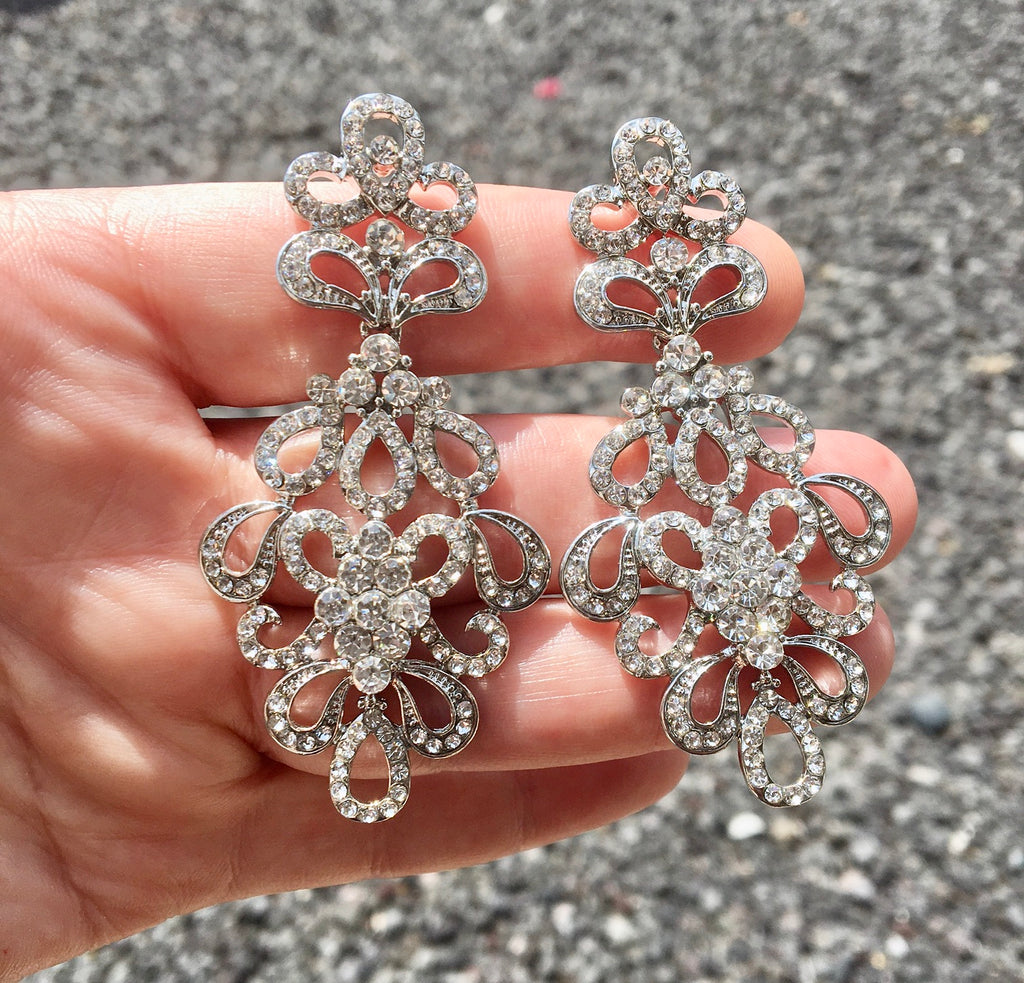 """Allure"" - Rhinestone Bridal Earrings - Available in Silver and Yellow Gold"