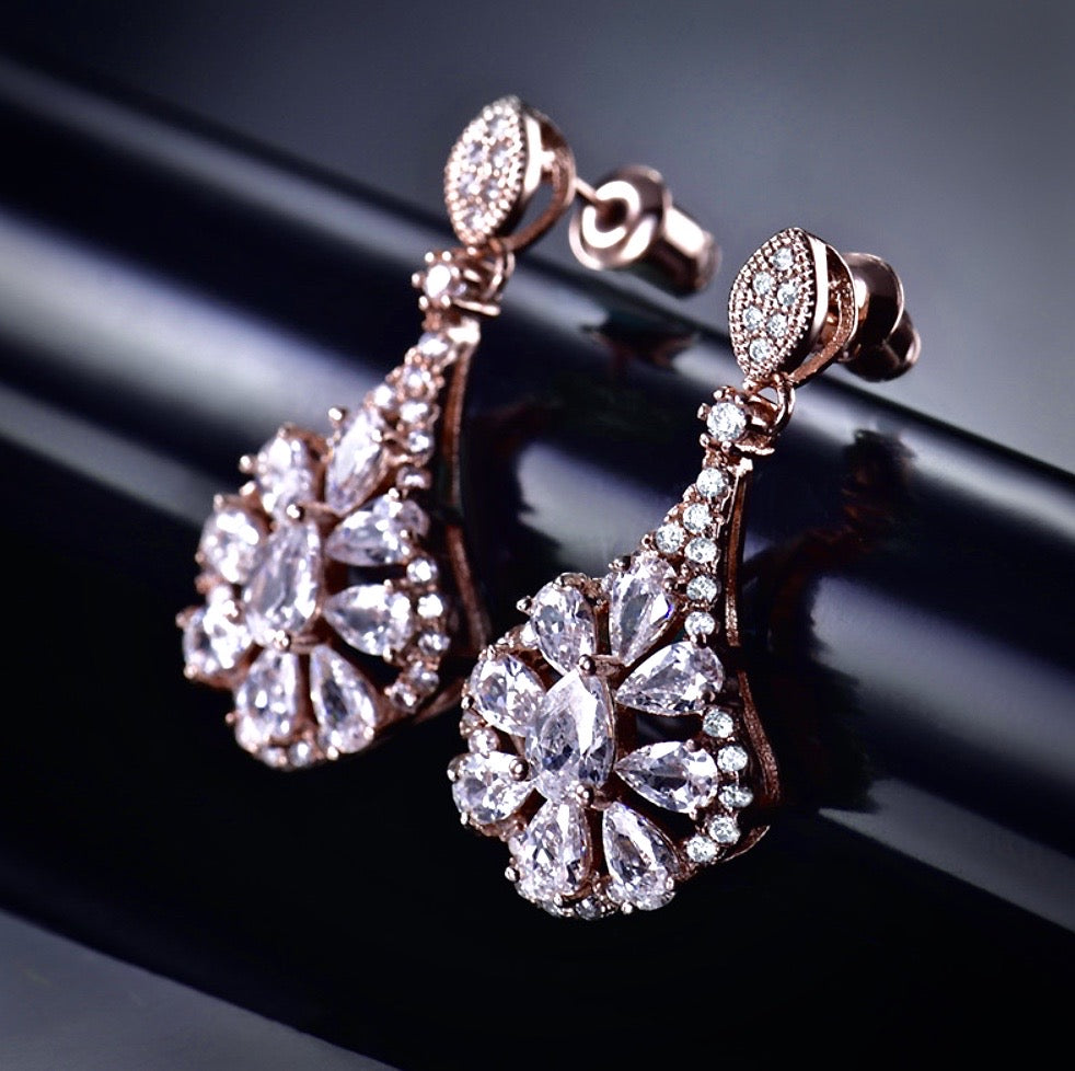 Wedding Jewelry - Rose Gold Cubic Zirconia Bridal Earrings
