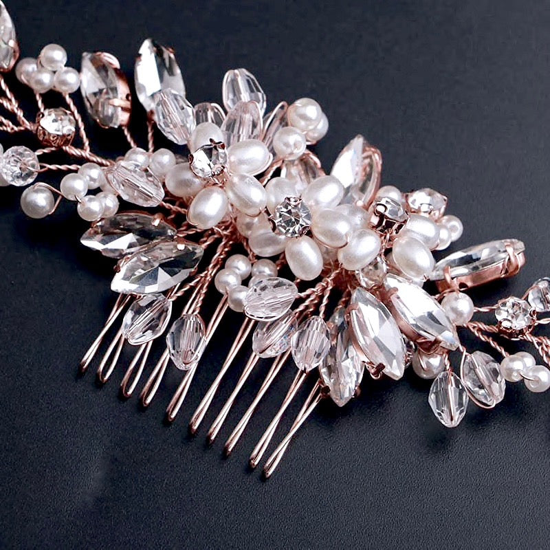 Wedding Hair Accessories - Pearl and Crystal Bridal Hair Comb - Available in Silver, Rose Gold and Yellow Gold