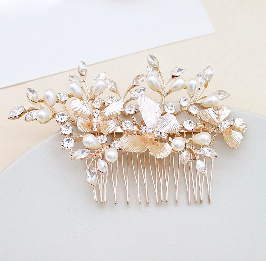 Wedding Hair Accessories - Rose Gold Butterfly Bridal Hair Comb