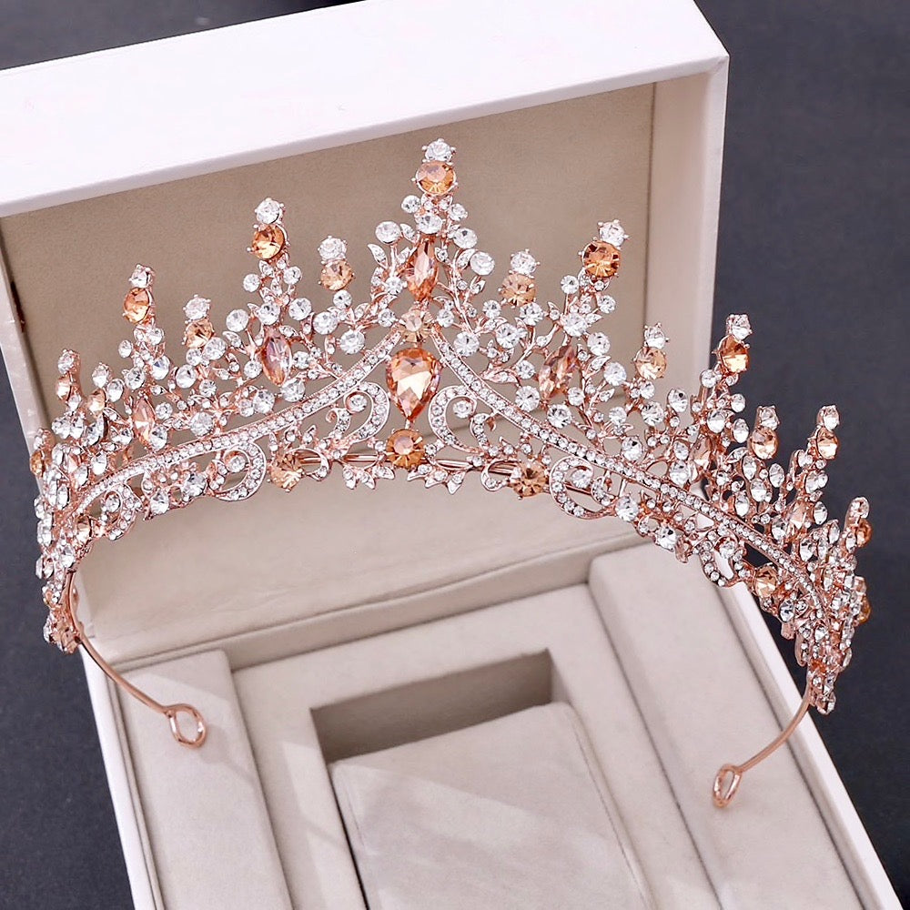 Wedding Hair Accessories - Baroque Rose Gold Bridal Tiara
