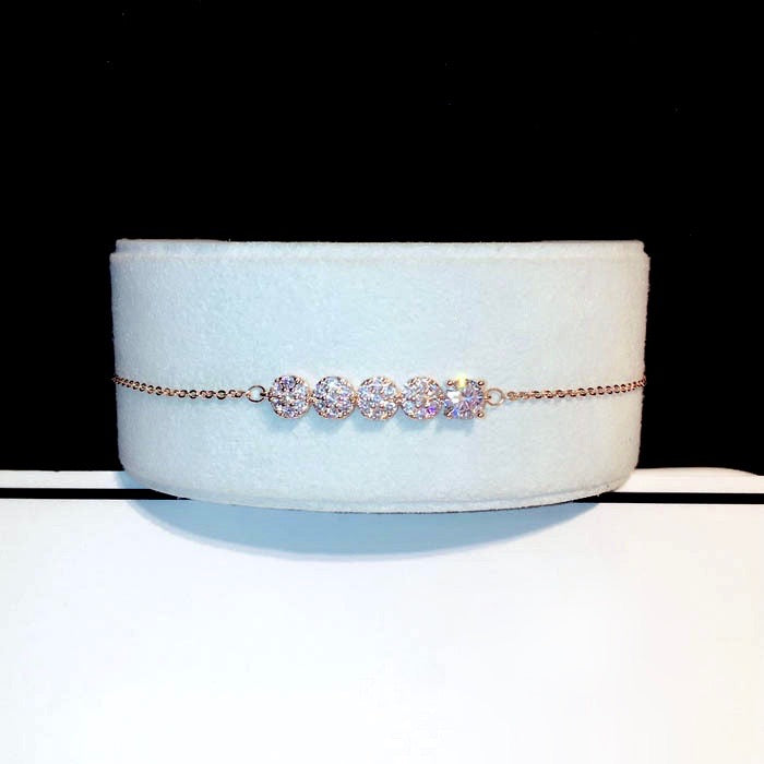 Wedding Jewelry - Rose Gold Cubic Zirconia Bridal/Bridesmaid Bracelet