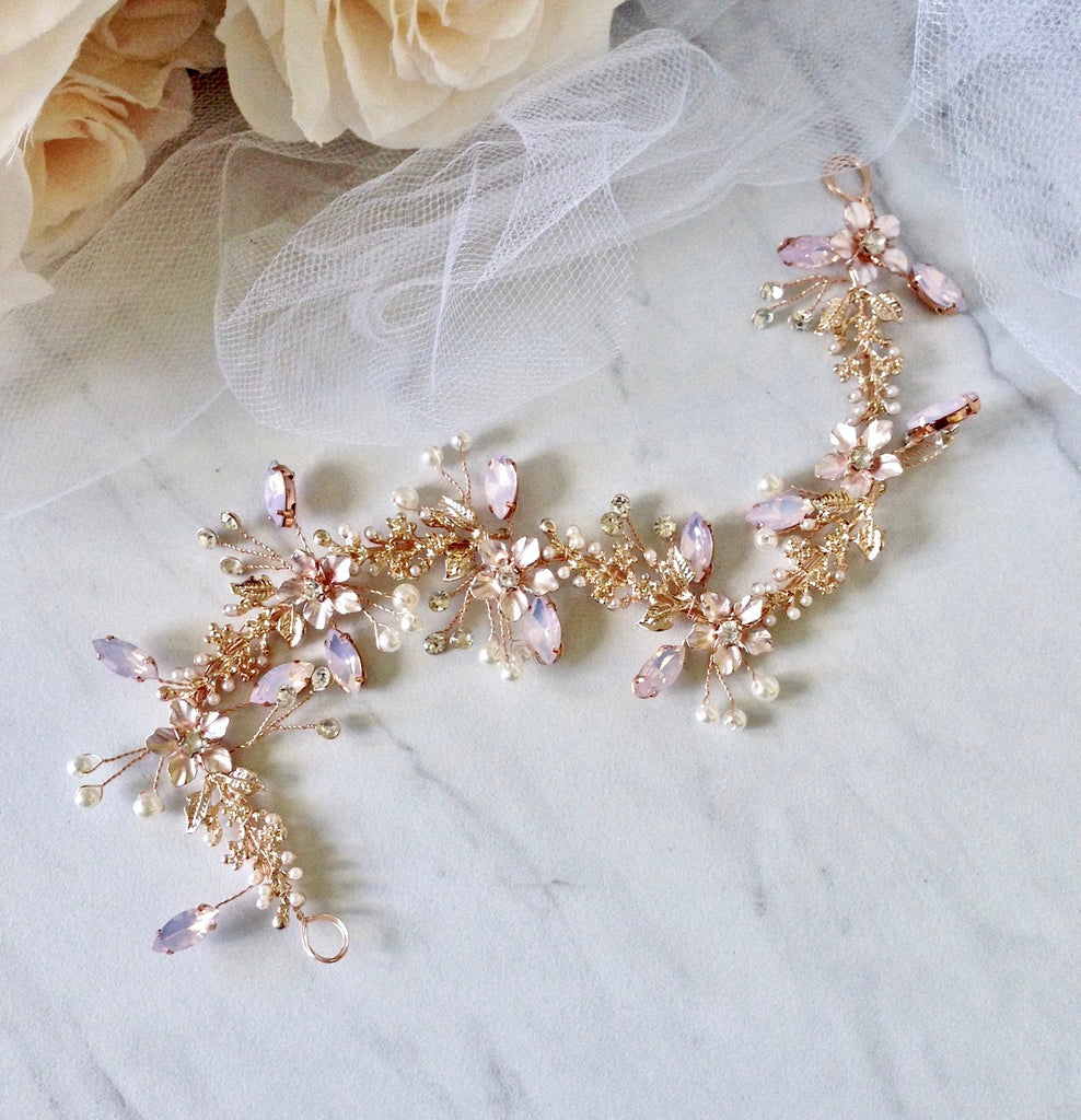 Wedding Hair Accessories - Rose Gold Swarovski Pearl and Crystal Bridal Headband