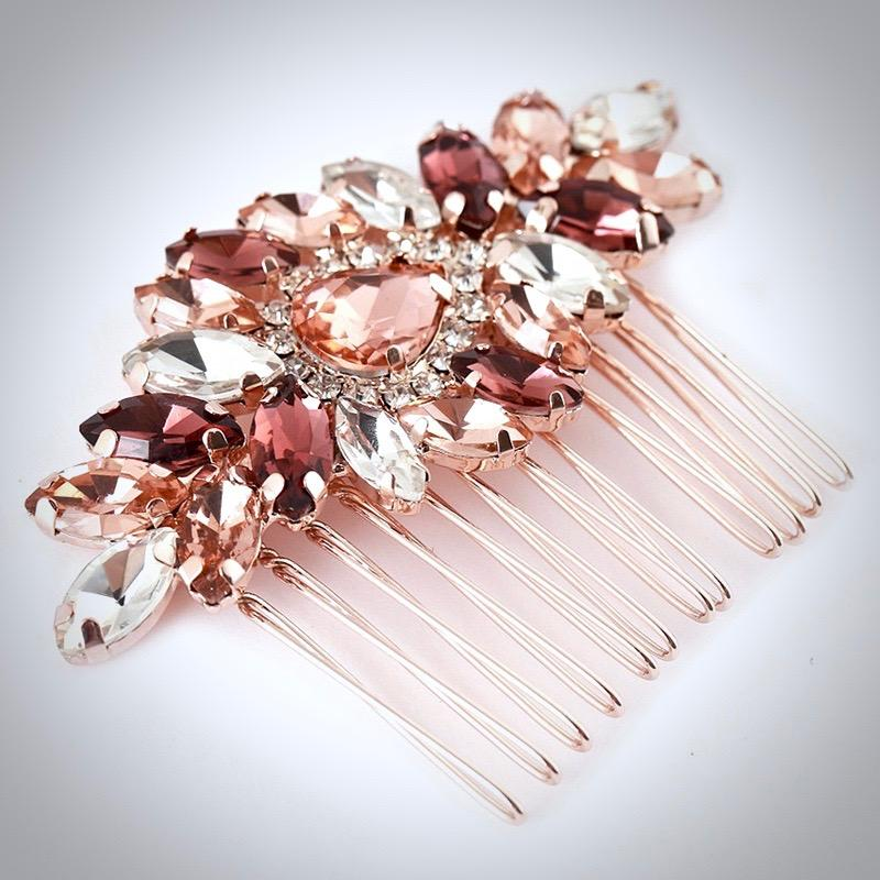 Bridal Party Gifts - Rose Gold Bridal Hair Comb With Matching Earrings