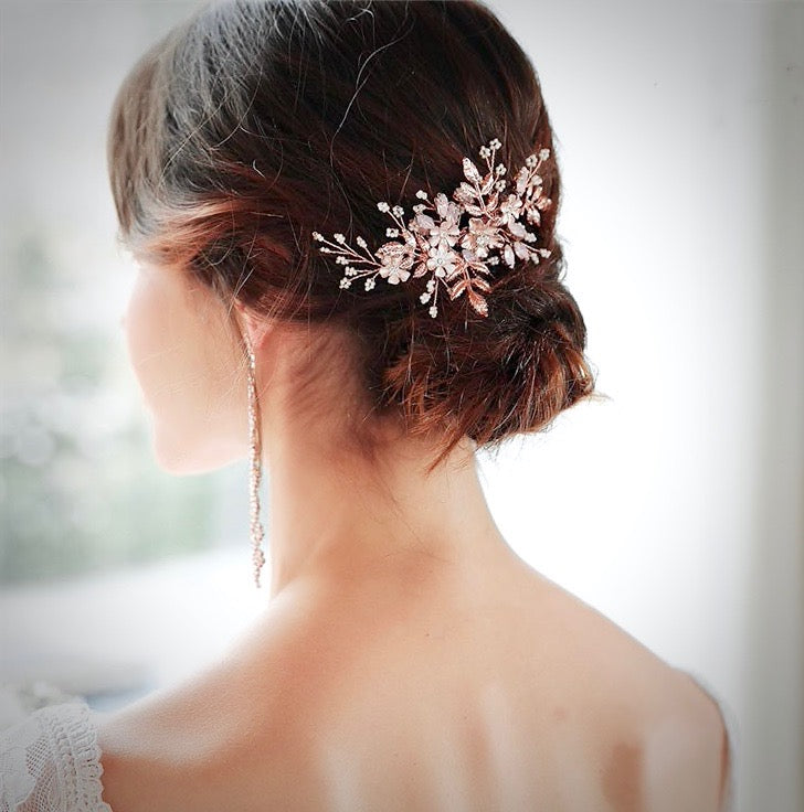 Wedding Hair Accessories - Rose Gold Swarovski Pearl and Opal  Bridal Hair Comb