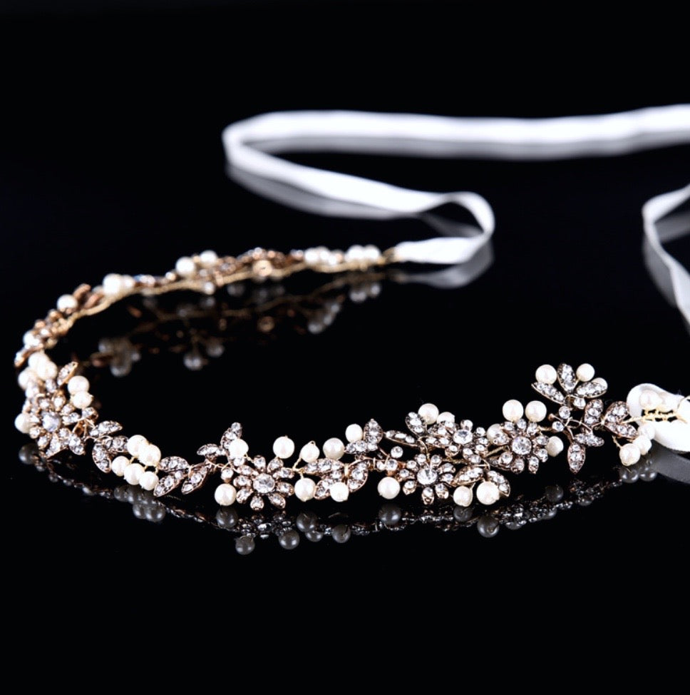 """Kelly"" - Vintage Gold Pearl and Crystal Bridal Headband"
