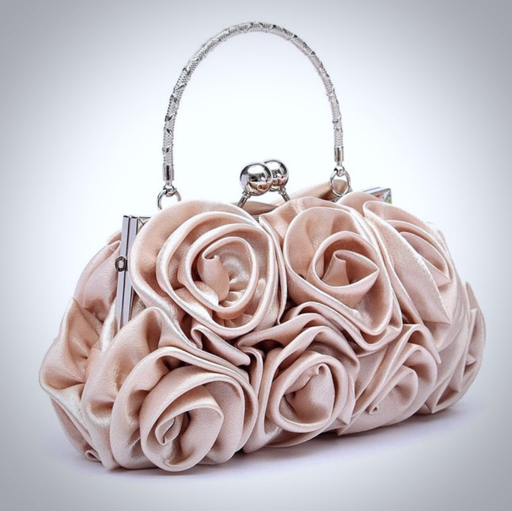 """AnnMarie"" - Satin Rose Bridal Handbag Clutch"