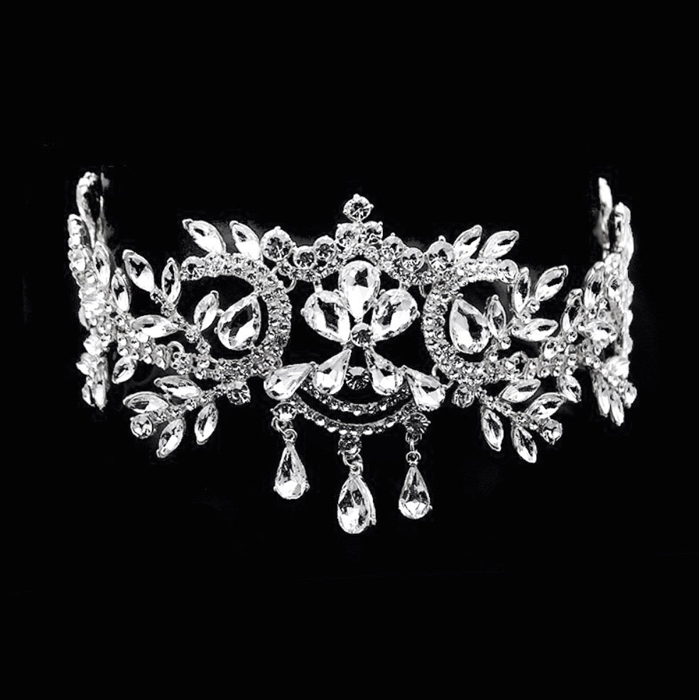 """Kiara"" - Crystal Bridal Forehead Chain / Headdress"