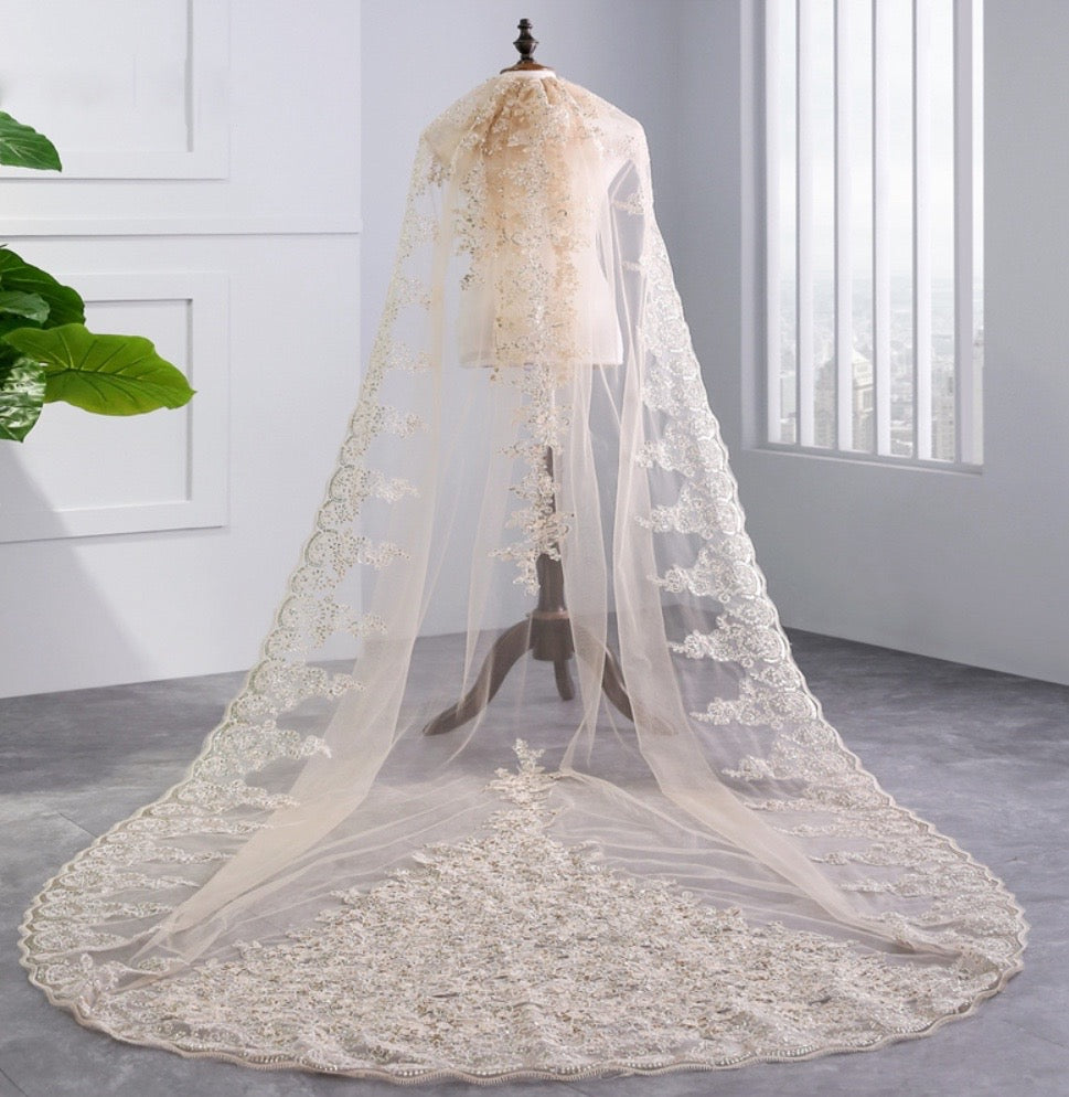 """Darya"" - Lace Edge Cathedral Bridal Veil"