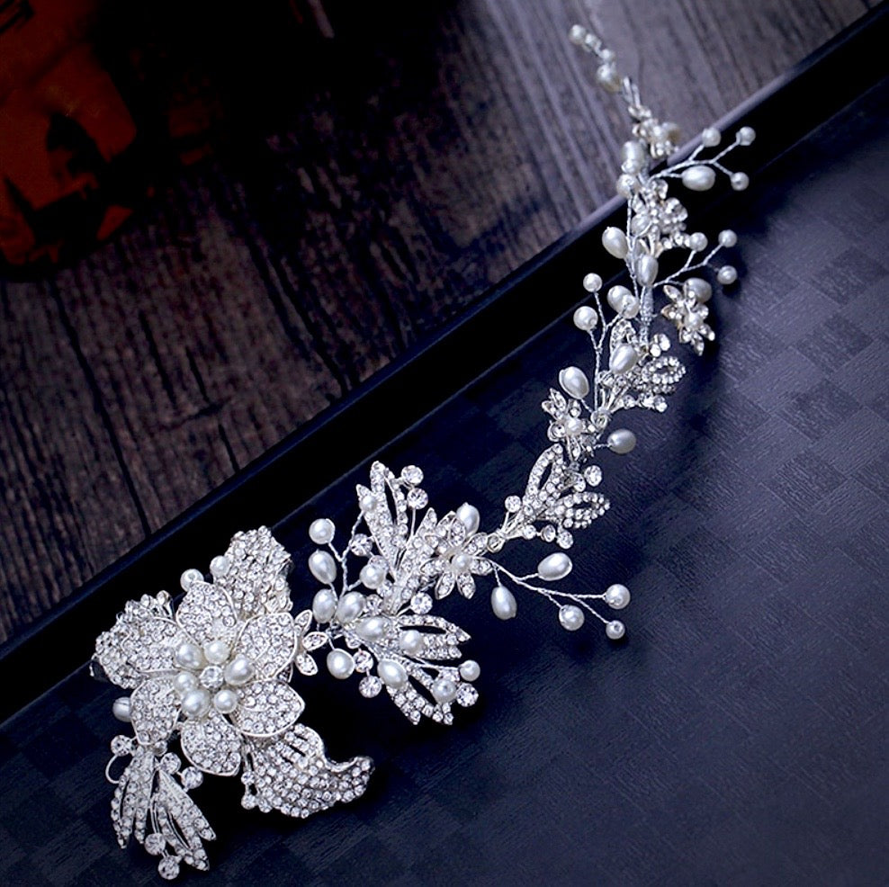 """Robin"" - Silver Pearl and Crystal Bridal Headband"