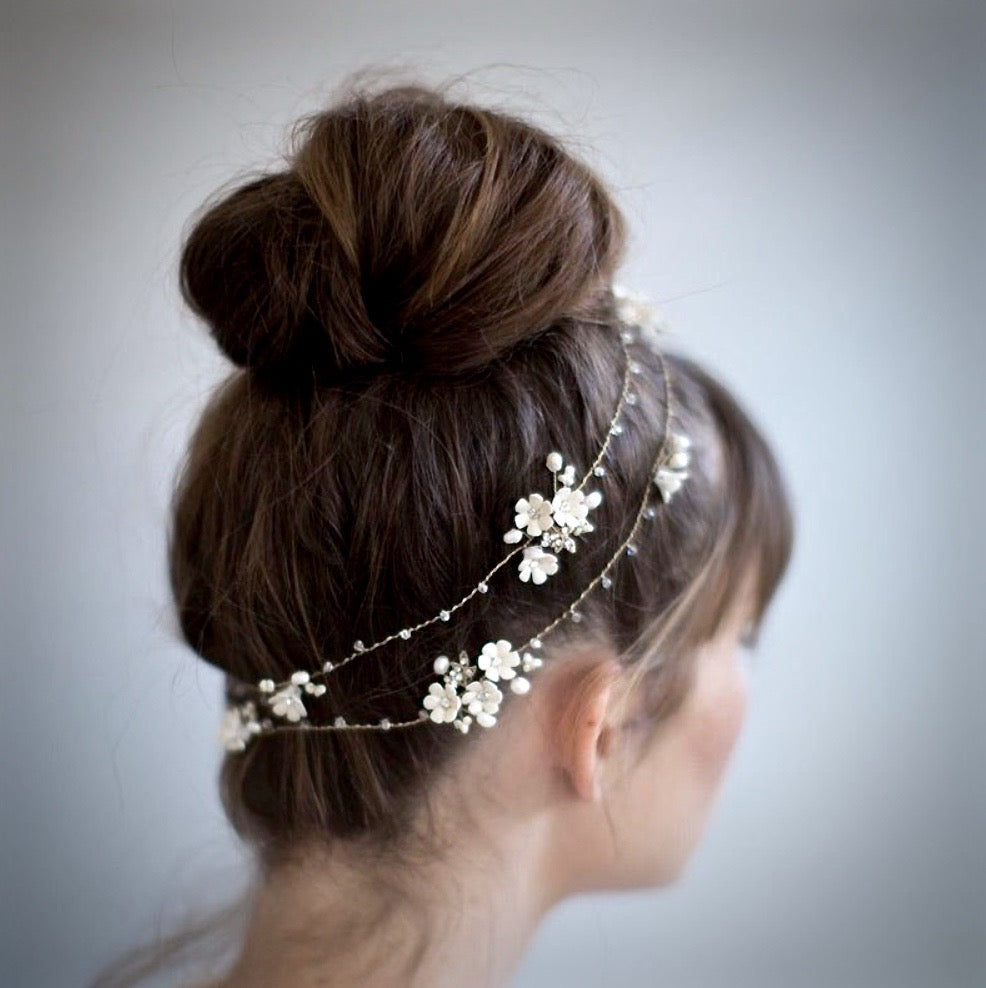 """Wendy"" - Pearl and Crystal Bridal Hair Vine"