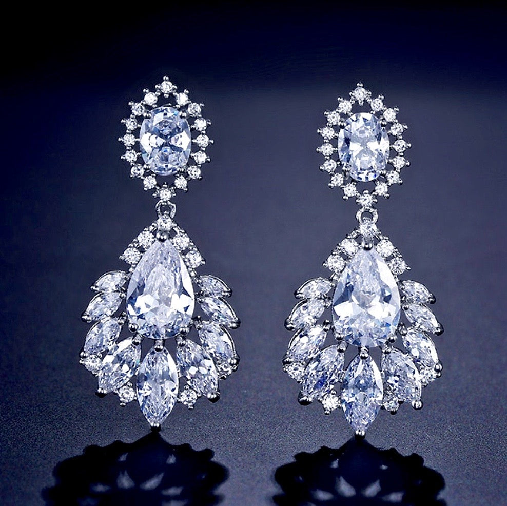 """Adrienne"" - Silver Cubic Zirconia Bridal Earrings"