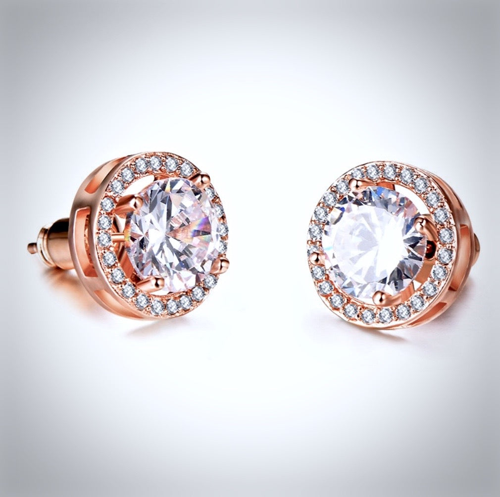 Wedding Jewelry - Cubic Zirconia Stud Earrings - Available in Rose Gold, Silver and Yellow Gold
