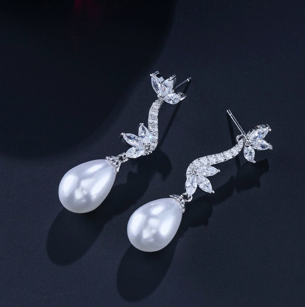 """Serena"" - Pearl and Cubic Zirconia Bridal Earrings"
