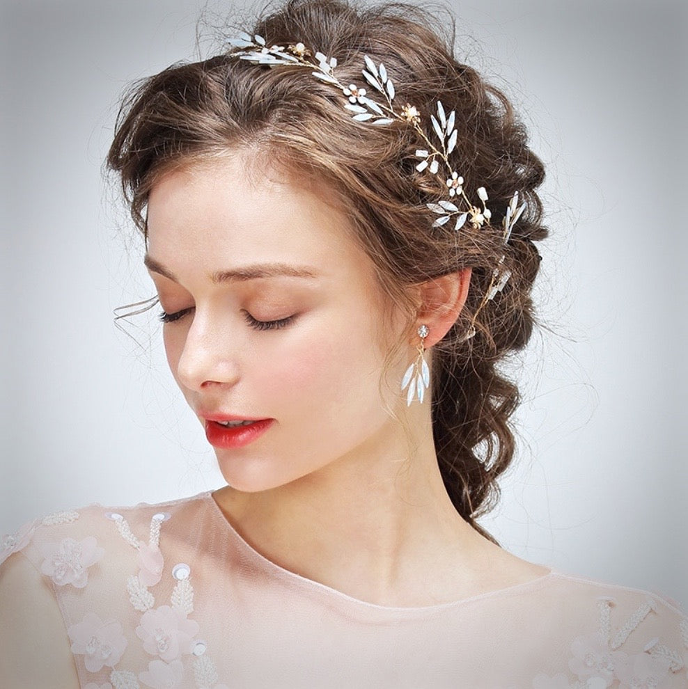"""Fabienne"" - Gold Opal Bridal Headband/Hair Vine With Matching Earrings"
