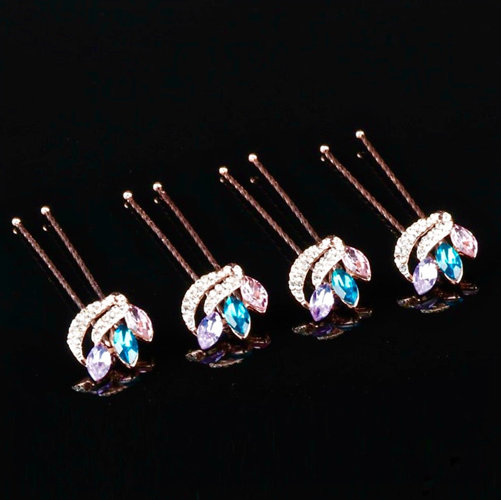 """Miley"" - Rose Gold Colorful Crystal Hair Pins - Set of 10"