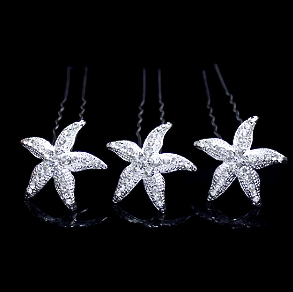 """Kailani"" - Crystal Sea Star Hair Pins - Set of 5"