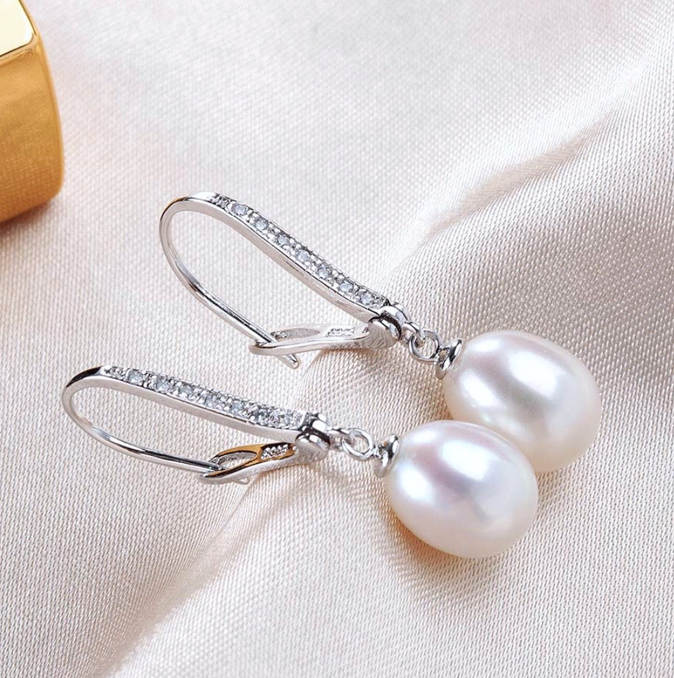 """Allie"" - Freshwater Pearl and Sterling Silver Bridal Earrings"
