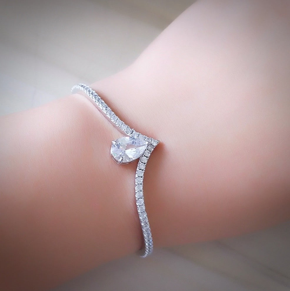 """Ayanna"" - Cubic Zirconia Bridal Bracelet - Available in Clear and Blue"