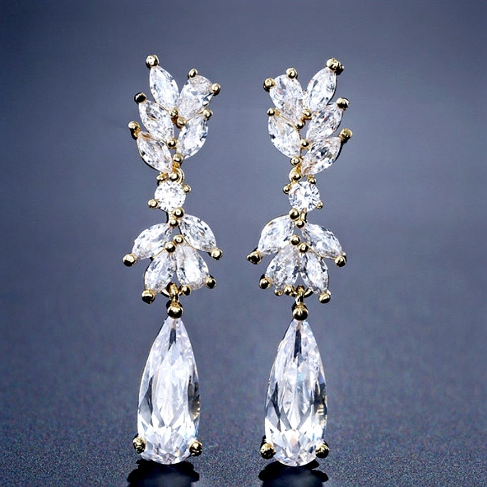 """Gemma"" - Cubic Zirconia Bridal Earrings - Available in Rose Gold, Silver and Yellow Gold"