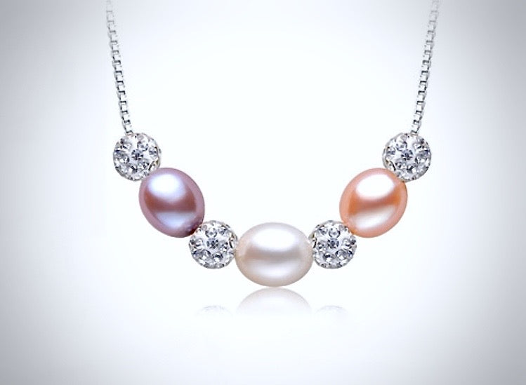 """Violet"" - Sterling Silver and Natural Pearl 3-Piece Bridal Jewelry Set"