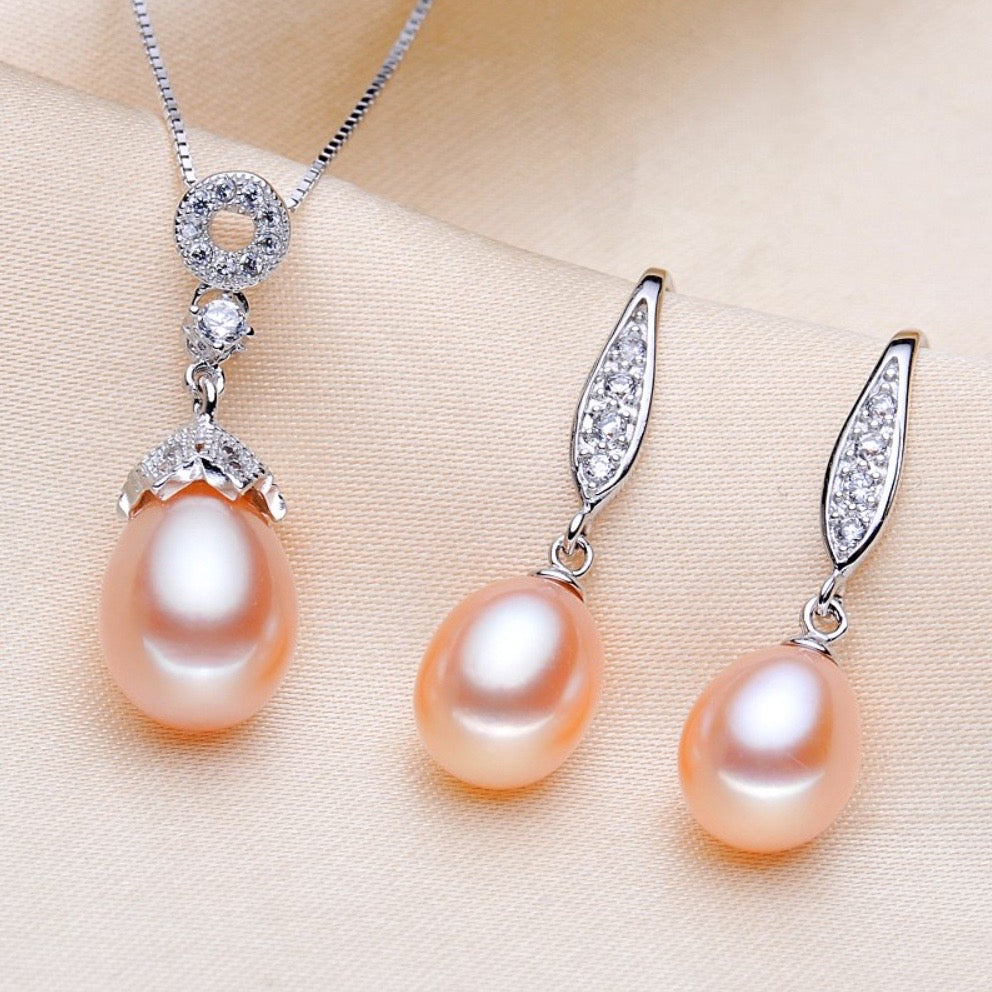 """Deana"" - Sterling Silver and Natural Pearl Bridal Jewelry Set - More colors available"