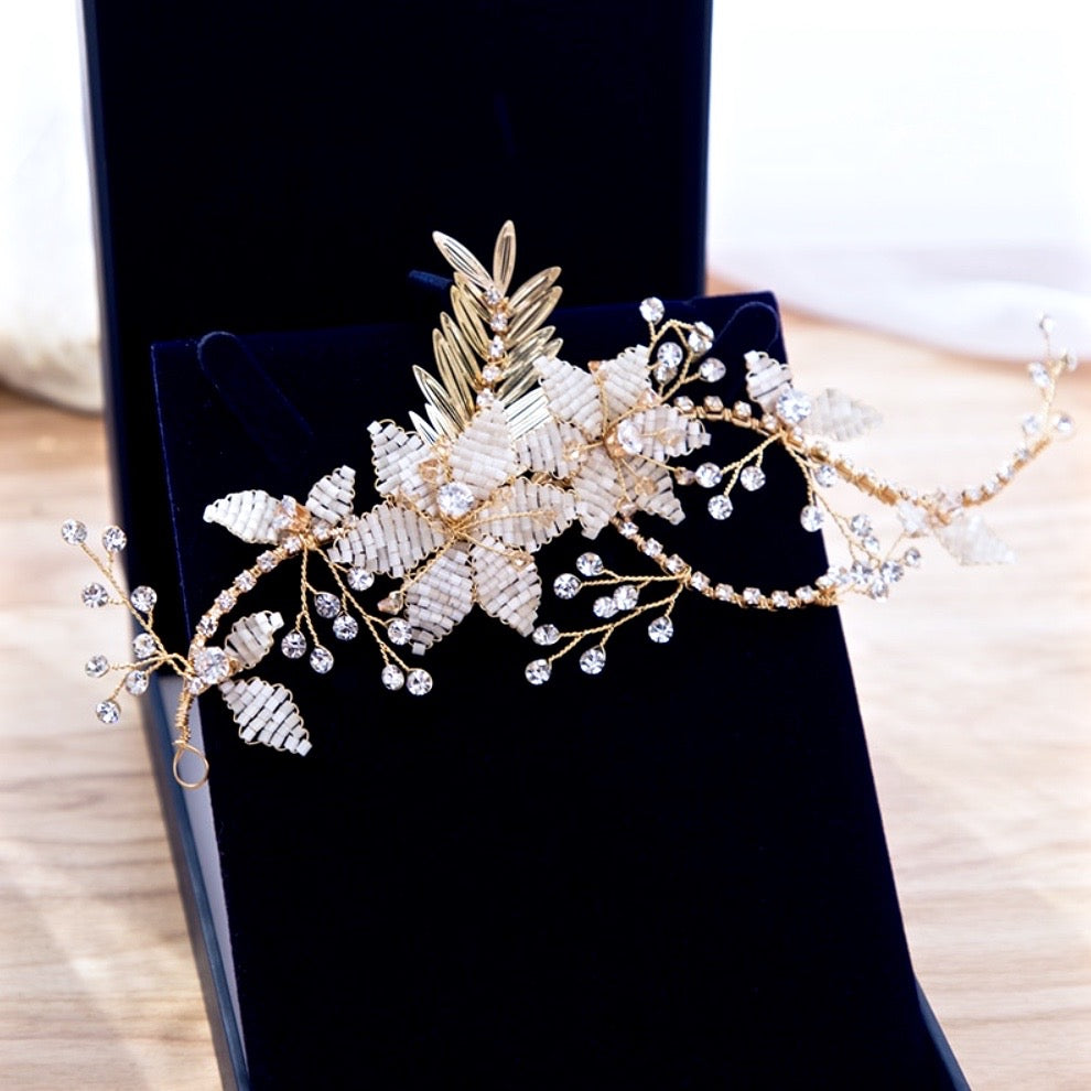 Wedding Hair Accessories - Gold Pearl Bridal Hair Vine