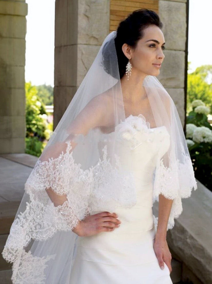 """Lucy"" - Lace Edge Cathedral Bridal Veil"