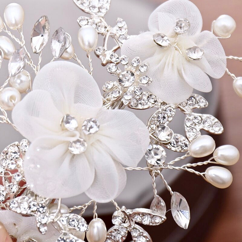 Wedding Hair Accessories - Silver Pearl and Crystal Bridal Hair Comb/Clip