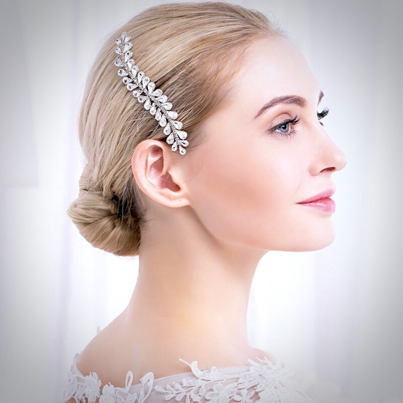 Wedding Hair Accessories - Silver Austrian Crystal Bridal Hair Comb