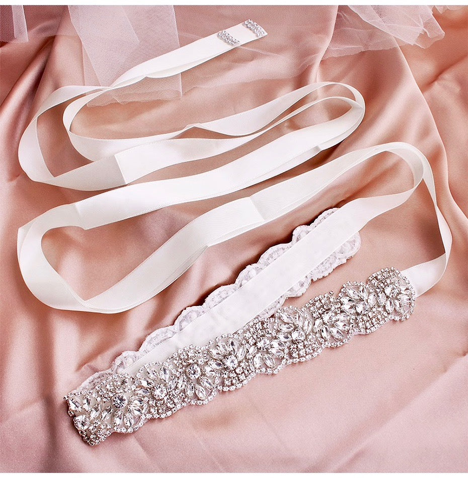 Wedding Accessories - Silver Crystal Bridal Belt/Sash