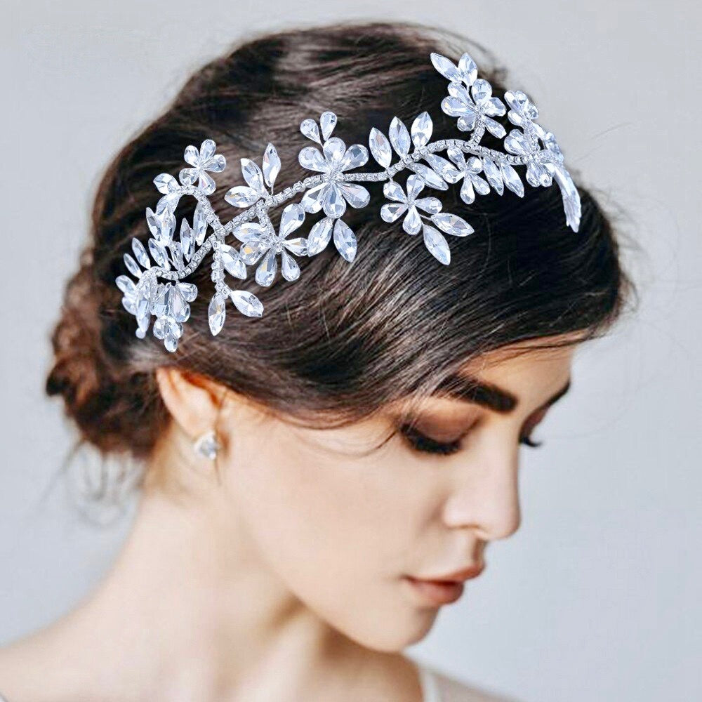 Wedding Hair Accessories - Silver Crystal Bridal Headband / Hair Vine