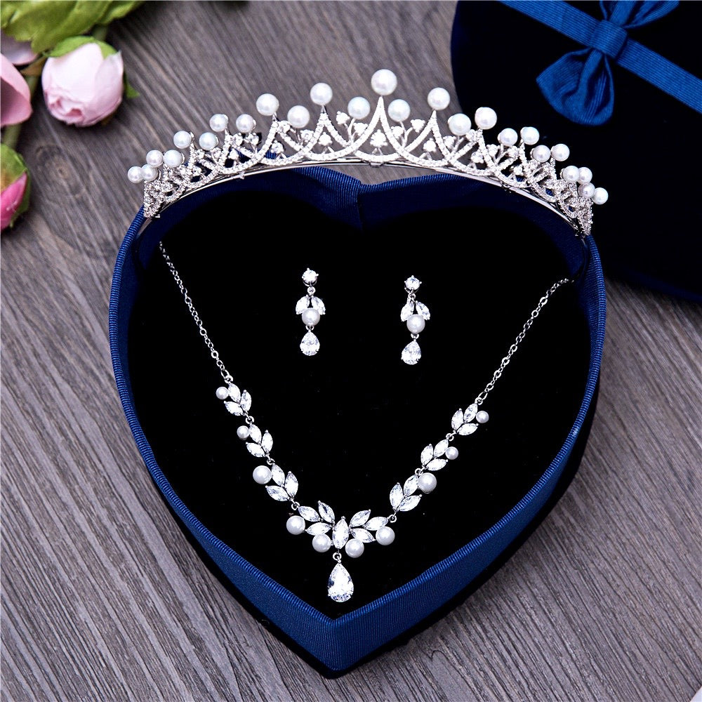 Silver Cubic Zirconia and Pearl 3-Piece Bridal Jewelry Set With Tiara